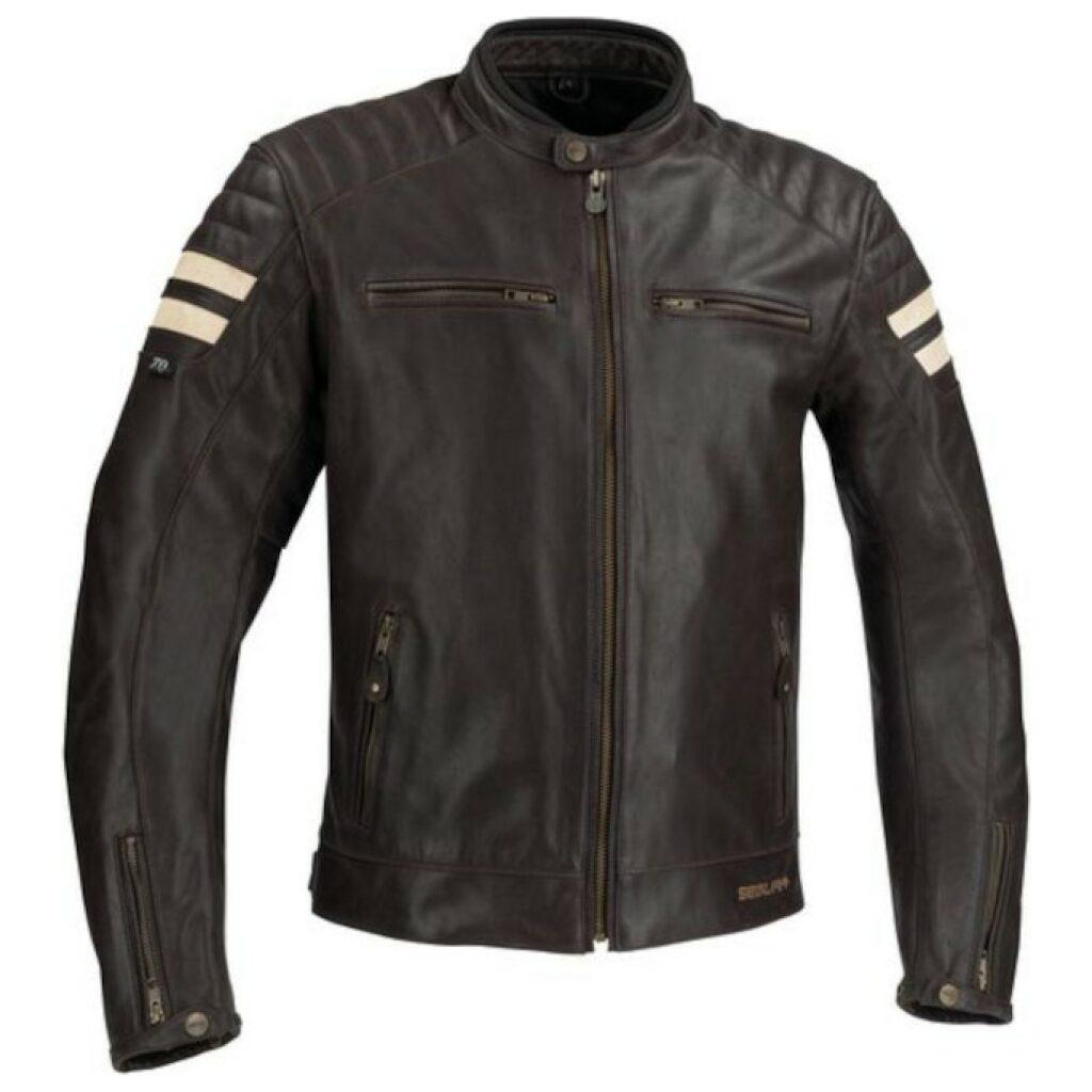 motorcykel jakke segura stripe brun