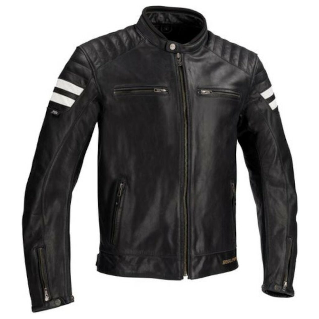 motorcykel jakke segura strip sort
