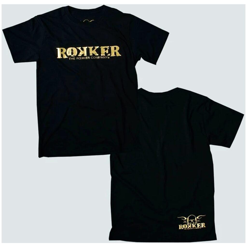 rokker t-shirt guld logo